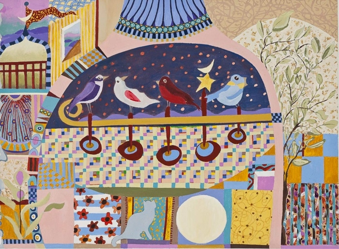 Bird Song Cat Moon Happiness - Painting by Andrea Deimel