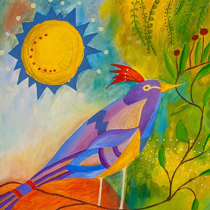 Crested Bird - Painting by Andrea Deimel