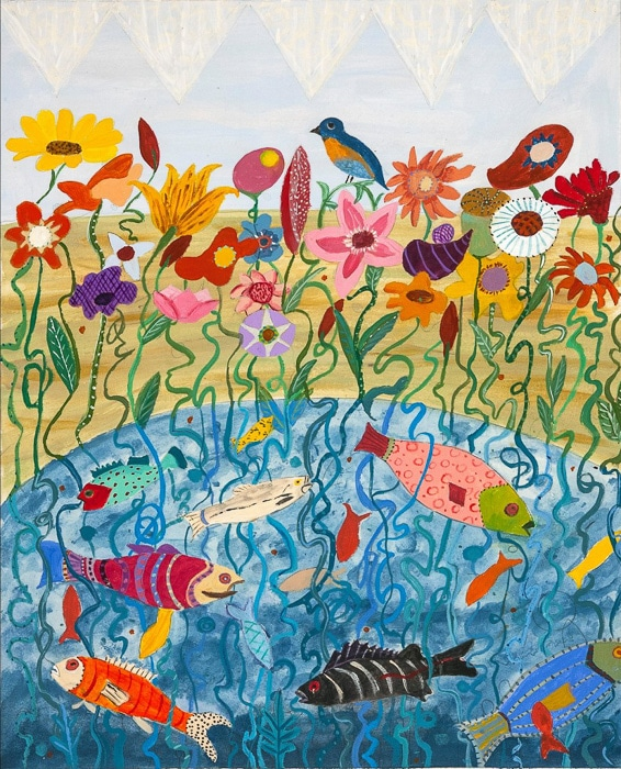 Fish To Flowers - Painting by Andrea Deimel