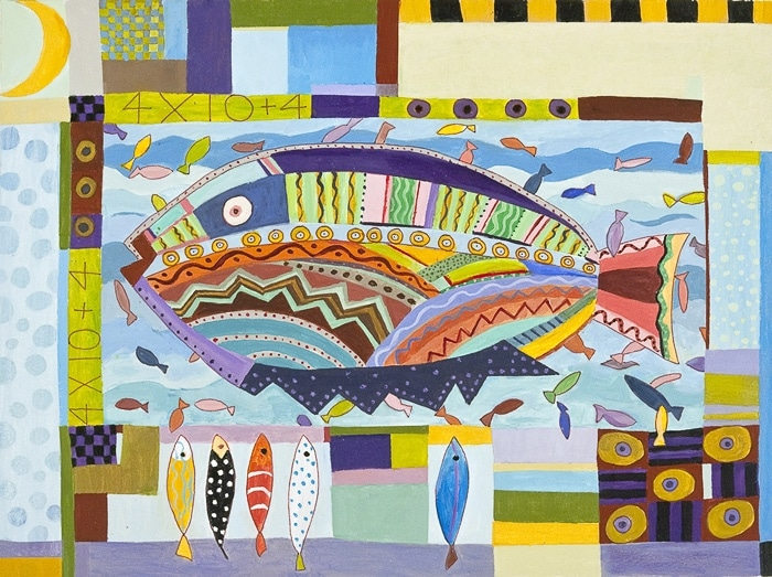 Forty Four Fish Two - Painting by Andrea Deimel