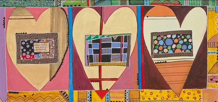 Three Hearts, Many Hearts - Painting by Andrea Deimel